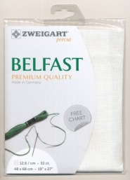 Лен Zweigart Belfast 32. Цвет 101 Antique White (молочный)